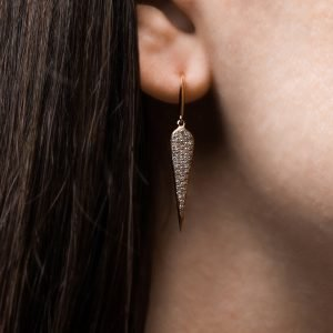Gold blade earrings with diamonds