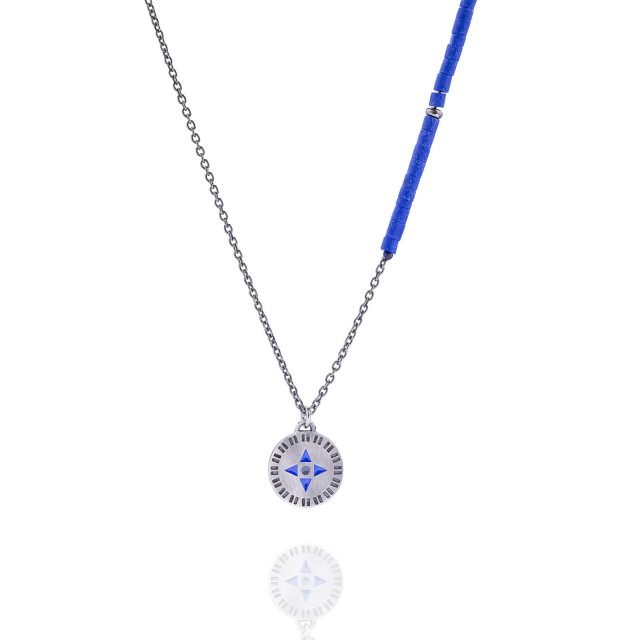 Necklace silver compass with lapis