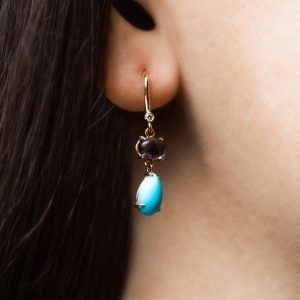Gold earrings with iolite and turquise