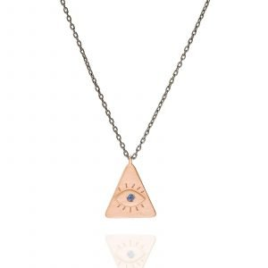 Necklace silver triangle eye
